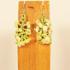 """1 1/2""""  Drop Style Green Color Stone Chip Handmade Dangle Seed Bead Earring"""