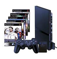 SONY Playstation 2 Slim schwarz (PS2) + 3 Spiele + Controller + Memory Card