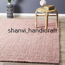 Pink Colour Handwoven Jute Rug Bohemian Home Decor Floor Rug 5x8 Feet Rag Rugs