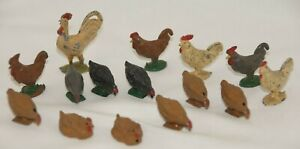 Barclay Lead Figures Chickens Set 15 Roosters