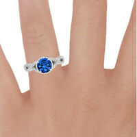 1.70 Ct Natural Diamond Natural Blue Sapphire Ring Sterling Silver Size P N S J