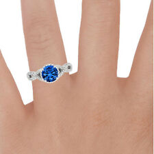 1.70 Ct Natural Diamond Natural Blue Sapphire Ring Sterling Silver Size N M H J