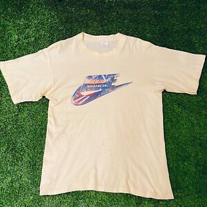 Vintage Nike Hollywood Sign T Shirt Size L 80s Rare Made In Italy Tag