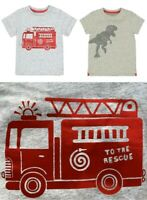 BNWT MOTHERCARE Boys Baby Grey Cotton Dinosaur Fire Engine T-shirt Top