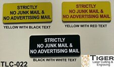 STRICTLY NO JUNK MAIL & NO ADVERTISING MAIL - YELLOW/BLACK - 10CM X 4.5CM