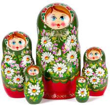 "Nesting Dolls 5 pcs 7"" Russian Doll Matryoshka w/ Floral Art Hand Painted Russia"