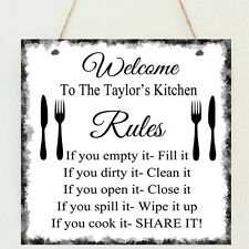 Personalised Family Kitchen Rules Love Home Sign Shabby Present Chic Cooking