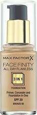MAX FACTOR FACEFINITY  ALL DAY FLAWLESS 3IN1 FOUNDATION BRONZE 80 SPF 20