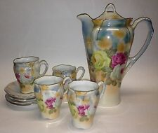 Crown Bavaria Chocolate Tea Set 9.5in Pot with Lid 4 Cups and Saucers Roses