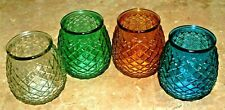 1-Pot Belly Shaped Textured Glass Holder~Choose Color~Free~Votive Candle