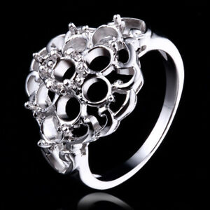 luxuriance!4mm Round silve 925 fashion style engagement wedding semi mount ring