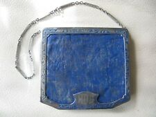Antique Silver T  Blue Leather Coin Holder Card Case Dance Powder Compact MDG