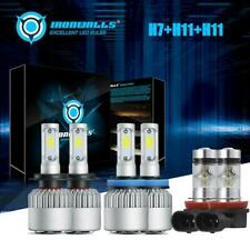 Combo LED Headlight H7+H11+H11 High Low Beam+Fog Light Bulbs 3 Sets 6000K White