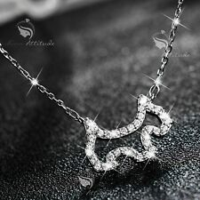 18K WHITE GOLD MADE WITH SWAROVSKI CZ ABSTRACT DOG PENDANT NECKLACE PUPPY BONE