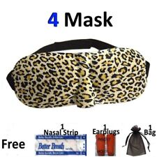 4 Pk Sleep Eye Mask 3D Leopard Soft Shade Cover Blindfold Rest Relax Travel Aid