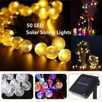 Solar String Lights 50 LED Crystal Ball Christmas Tree Garden Party Fairy Lamp