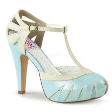 PLEASER Pinup Couture Bettie-25 Cream Blue Platform T-Strap Pump UK 6 / EU 39