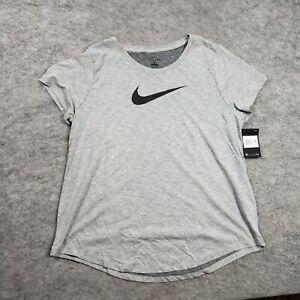 NEW Nike Shirt Womens 1X Athletic Short Sleeve Graphic Gray Tee Swoosh Ladies