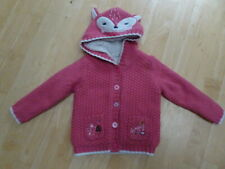 GEORGE girls pink knitted furry lined hooded cardigan AGE 2 - 3 YEARS EXCELLENT