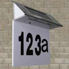 Solar Powered 4 LED House Address Number Stainless Steel Doorplate Light Lamp HU