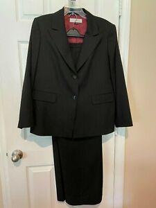 Womans Tahari  Black w/ Broken Line Red Pinstripe Pant Suit  - Size 14W