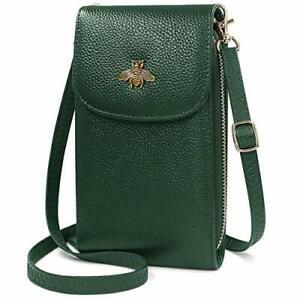 Women's Genuine Leather Cross Body Phone Bag (Green)