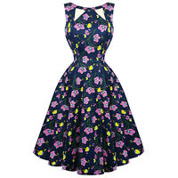 Hearts & Roses London Navy Blue Floral Retro 1950s Flared Party Swing Dress