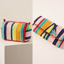 Anthropologie Marta  Beaded Pouch and Jewelry Case Set  NWT