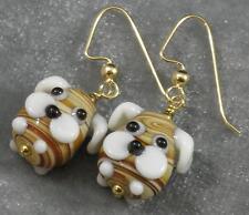 Lampwork Glass Floppy Ear Puppy Dog Earrings Brown White Gold Black Artisian