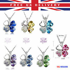 Crystal 4 Leaf Clover Necklace for Women Flower Fashionable Pendant Jewellery