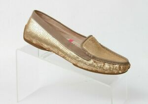 Joan & David Dafaline 2 Gold Sequin Flat Slip On Loafer Shoes Womens 7 M Casual