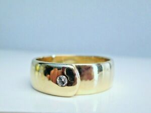 Heavy Wide 9ct Yellow Gold Round Brilliant Cut Diamond Chunky Men's Band Ring T
