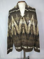 NEW Polo Ralph Lauren Men's XXL Brown Aztec Southwestern Shawl Cardigan Sweater