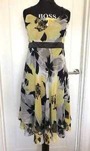 Joseph Ribkoff Floral Dress & Shawl UK Size 10 Floaty Yellow Wedding Cruise