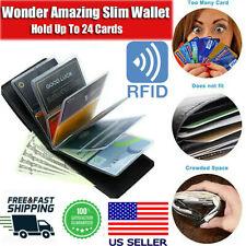 Wonder Wallet Amazing Slim RFID Wallet As Seen on TV Black Leather Wonder Wallet