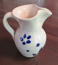Medium Sized,Cobalt Blue/Cream Pottery Pitcher, Unsigned, engraved blue flowers