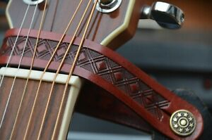 GUITAR LEATHER HEADSTOCK STRAP TIE HOOK BUTTON
