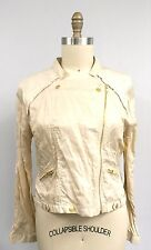 Hollywood Hudson Nylon Crinkle Motorcycle Jacket in Gold Metal Womens XL NWT