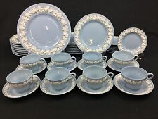 Wedgwood Queensware White on Lavender/Blue 40-Piece Set for 8 Smooth Edge