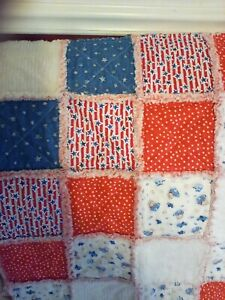 Handmade Baby Little Pilot/chenille  Rag Quilt, 36 X 36 inches