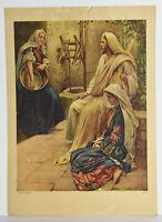 "14"" Vintage Christian Religious Print Bible Jesus Sitting Mary Martha"