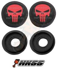 2 Black Custom License Plate Frame Tag Screw Cap Covers - PUNISHER SKULL FDY