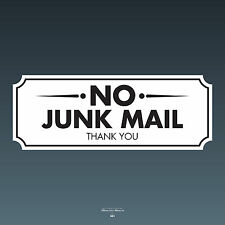 SKU081 - No Junk Mail Front Door Sign Sticker - 120mm x 45mm