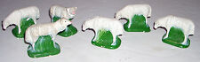 Lot / Set of 6 Vintage Painted Composition Sheep Great for Nativity Scene