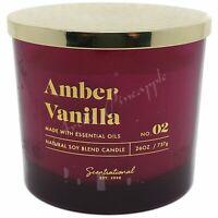 Scentsational Natural Soy Blend 26oz Cotton 3 Wick Candle Jar Amber Vanilla No 2
