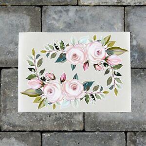 2 x Pink Rose Flower Vinyl Stickers Decals Wall MacBook Laptop iPad - SKU7185
