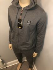 Mens Hugo Boss Charcoal Zipped Tracksuit Hoodie&Pant Medium RRP £270 Bargain£99