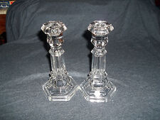 Viking Glass Crystal Candle Holders  - Pair