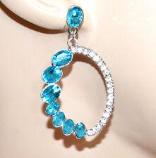 ORECCHINI argento strass donna cristalli celesti pendenti ovali earrings G32