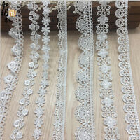 1/5/10 Yard Embroidered Lace Trim Wedding Dress Ribbon Applique Sewing Craft